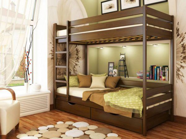 Кровать двухъярусная деревянная Дуэт...