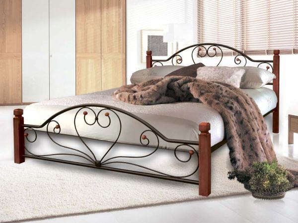 Ліжко металеве Джоконда Металл-Дизайн на дерев'яних ніжках 3608mz купити з доставкою по Україні