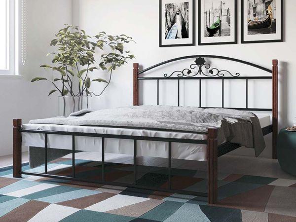 Кровать металлическая Кассандра на деревянных ножках