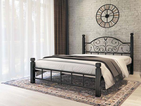 Ліжко металеве Анжеліка Металл-Дизайн на дерев'яних ніжках 3612mz купити з доставкою по Україні